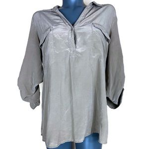 Eileen Fisher Brown 100% Silk Blouse Size Large